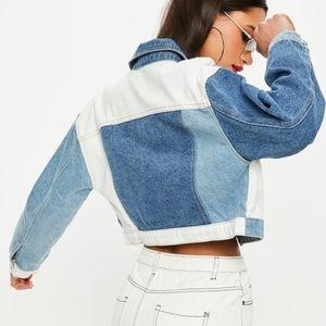 Blue Denim Patchwork Cropped Jean Jacket